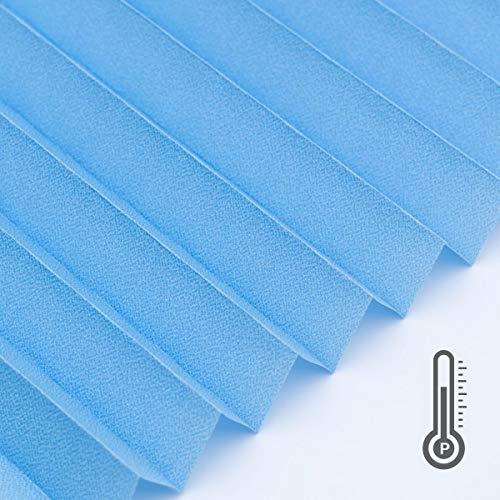 Plissee auf Maß, Capri blau', schwer entflammbar B1, Hitzeschutz, Montage nach Wahl, Raumausstatterqualität, Muster 20x20 cm