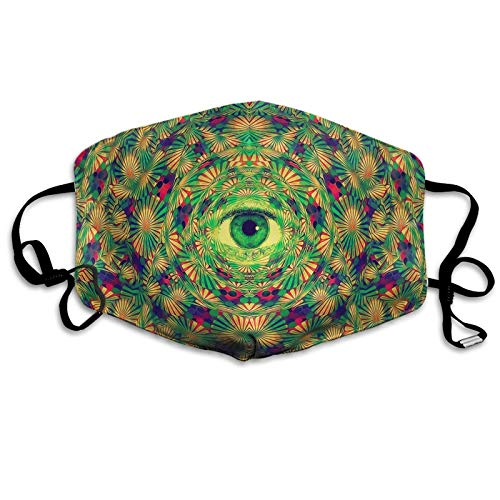 Psychedelic Eyes Trippy Face Mask Adult Anti Dust Windproof Face Protection Reusable Adjustable Elastic Ear Loops Nose Clip Face Cover