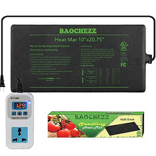 BAOCHEZZ Seedling Heat Mat 10x2075 inch and Digital Thermostat Controller Combo Set Seed Heating Mat Pat Seed Starting Propagation and Increase for Plant MET Safety Standard Certified