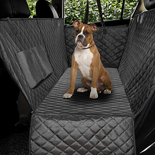 Honest Luxury Quilted Dog Car Seat Covers with Side Flap Pet Backseat Cover for...