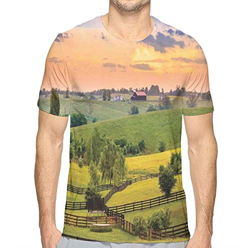 GUUi Heren 3D Printed T Shirts,Foto van landelijke weiden met hekken Surreal Countryside Print
