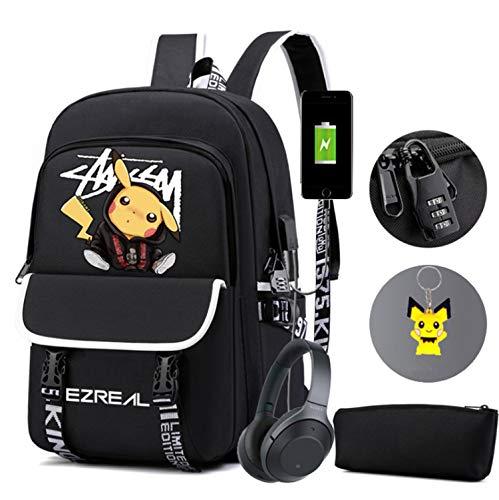 Pokémon-Detektiv Pikachu Rucksack-Mode Trend Reise Computer Rucksack, High School Junior High School Schüler Schultasche, leuchtende USB wiederaufladbare Schultasche (schwarz)
