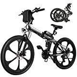 """ANCHEER 26"""" Bici Elettrica da Città/Trekking/Mountain, 3 modalità di guida,Shimano a 21 velocità,Batteria Rimovibile agli Ioni di Litio da 36 V/8Ah,Sedile regolabile,Usato per Adulto Unisex (Nero)"""