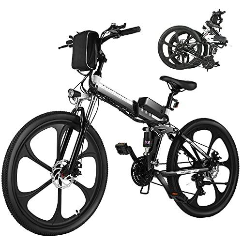 ANCHEER 26' Mountain bike pieghevole Bicicletta elettrica Sistema di trasmissione a 21 velocità con Sedile regolabile Batteria al litio Carico massimo: 120 kg (Nero)