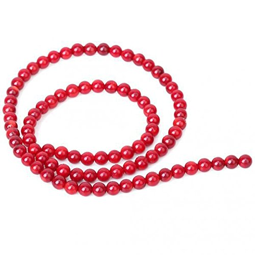 F Fityle 2 Hebras de Cuentas Sueltas de Piedras de Coral Redondas Rojas de 4 Mm para Hacer Collares Y Pulseras