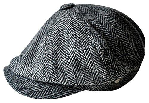 MINAKOLIFE Hombre Vendimia Estilo Sombrero del casquillo del pa?o de Shelby Sombrero del casquillo de la tela cruzada de Cabbie de la hebilla Gorro(60cm(L-XL),negro)