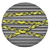 Mantel de mesa resistente a las manchas, con bordes elásticos, para investigación de escena de crimen, no pasa, color amarillo, gris y negro