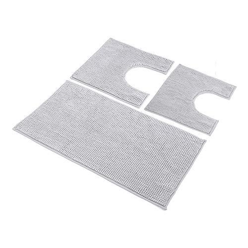HomeLife: Set Tappeti Bagno 3 Pezzi in Microfibra [45X75 + 40X45 (2 Pezzi)] - Parure tappetini Bagno Shaggy a Pelo Corto con Tappetino e 2 Girowater/Girobidet - Lavabile Lavatrice - (Grigio)