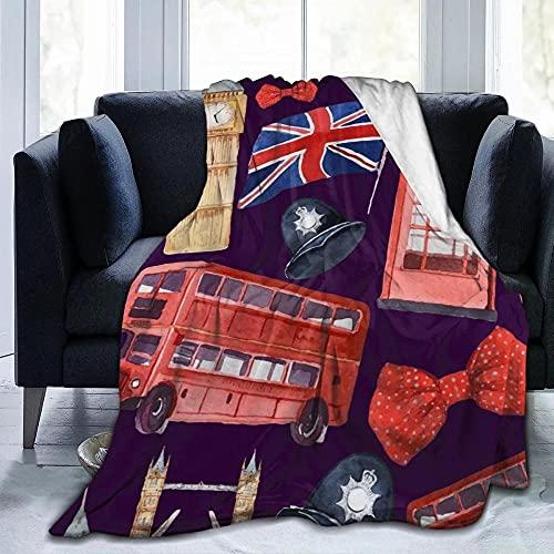 Manta de Franela Microfibra Suave Acogedora Manta de Lujo para la Cama 100% Microfibra mullida cálida Mantas para Sofa Grande Plaid Cama Colcha Reloj Cabina telefónica de Londres Big Ben-XXL