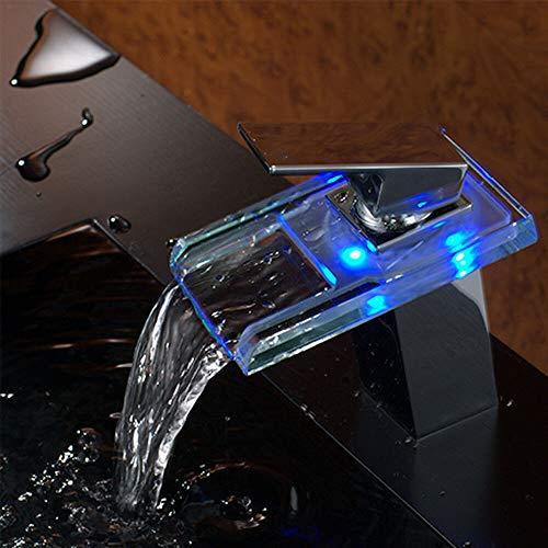 LED Elektrischer Wasserhahn Durchlauferhitzer Beleuchteter Wasserfall Glas Durchlauferhitzer Wasserhahn 3 Farbewechsel Beleuchtung Bad Armatur Einhebelmischer FüR Badezimmer Waschbecken