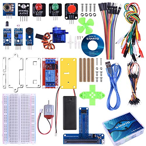 STARTO Kit for BBC Micro:bit Starter Kit Zubehör with SG90 Servo Expansion Board Sensor Relais Photosensitive Module Jumper Wires with Free Tutorial for Beginners and Kids to Learn Electronics TX01