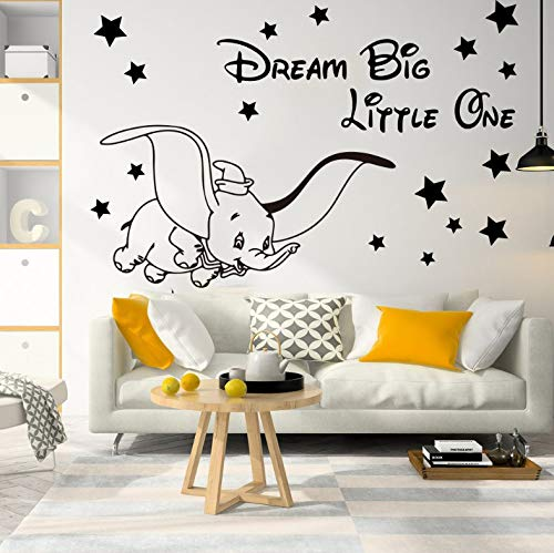 ZXD123 Kreative Dekorative Tapete Cartoon Traum Big Little One Fly Dumbo Elefant Stern Wandtattoo Kinderzimmer Dumbo Tier Inspirierend Zitat Wandaufkleber 97 * 65 cm