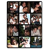 Custom Design Throw Blanket with Picture, Personalized Blanket with 1-12 Photo Collages, Customized Soft Flannel Blanket for Family Friend Dog or Pet Wedding and Gift (12 Photos Collage, 48'x 60')