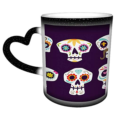 Colección colorida de calaveras mexicanas de dibujos animados bonitos calaveras de azúcar termosensible que cambia de color taza de café con cielo estrellado taza de 11 oz