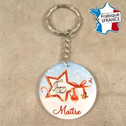 Porte Clef – Joyeux Noël Maître (Cadeau de Noël pour le maître de votre enfant - décoration de Sapin)