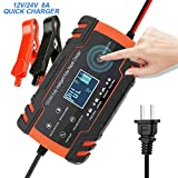 Upgraded 12V/24V Automatic Smart Battery Charger/Maintainer Delivers, Pulse Repair Battery Charger with LCD