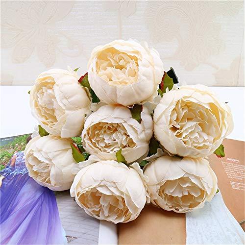 Yazidan 1 ramo de flores artificiales de peonía de seda para decoración, flores de seda, hojas florales, hojas de rosa, flores falsas, rosas de seda, cabezas de plástico, ramo de novia