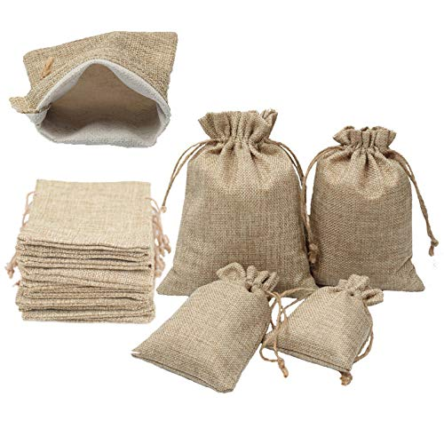YUKUNTANG Burlap Bags, 20 Pcs Wedding Party Jewelry Favor Gift Candy Drawstring Pouch Burlap Sacks for Arts, Crafts, Presents, Snacks, Christmas, Thanksgiving (4'X6')
