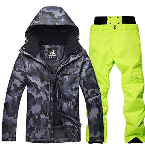 YOJOLO Herren Skianzug Camouflage Skijacke Schneehose Set Isolierte Winddichte wasserdichte Schneeanzug Winter Snowboard Skikleidung Für Männer,Black e,XL