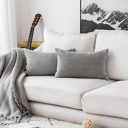 Home Brilliant Decorative Plush Velvet Corduroy Striped Throw Pillow Sham Pillow Case Cushion Cover for Lumbar, 12 x 20, Set of 2, Light Grey