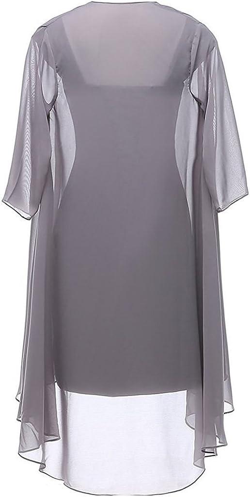 HUINI Brautmutter Kleider mit Jacke Wadenlang Chiffon Perlen Hochzeitskleid Abendkleid Ballkleid Festkleider Pfau