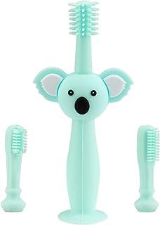 Vicloon Babytandenborstels, siliconen tandenborstel met koala-hoofdgreep, zuignap-design en siliconen beschermring, inclus...