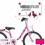 ilka parey wandtattoo-welt® Fahrradaufkleber Fahrradsticker Aufkleber Sticker Fahrraddeko Gänse Entchen mit Punkten M1889 - ausgewählte Farbe: *pink*