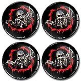 SkinoEu® 4 x 60mm Aufkleber 3D Gel Silikon Autoaufkleber Stickers Totenkopf Schädel Skull Skelett...