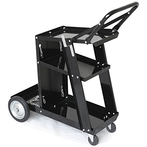 AMZOSS 3-Tier Rolling Welding Cart Portable Heavy Duty for Plasma Cutter, Welding Welder Cart 350 Lbs Weight Capacity with Tank Storage & 2 Cable Hooks & Safety Chain Plasma Cutting Equipment (Black)