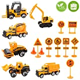 Unihoh Kids Construction Toys - Kids Toy Construction Trucks, 6 Pcs diecast Construction Vehicles Toddlers for...