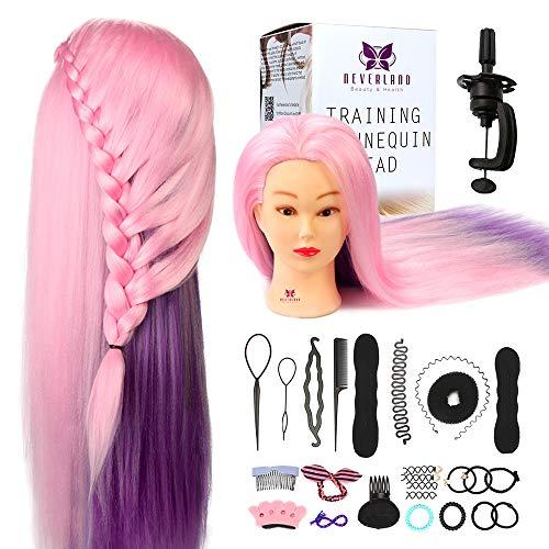 Neverland Beauty 60cm 100% Cabello sintético Cabeza Maniquí Peluqueria practicas Formación muñeca de la cosmetología (con soporte) & DIY Hair Styling Tools
