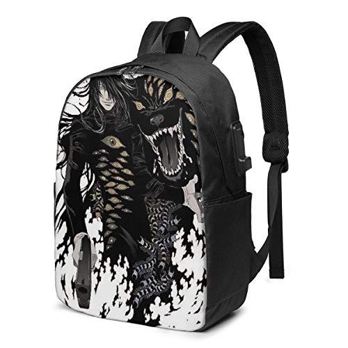 BGDFN Hellsing Ultimate Mochila USB de viaje a la moda, 17 pulgadas, mochila de negocios, mochila de estudiante casual para senderismo