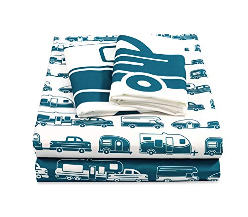 Camco Life is Better at The Campsite Queen-Size Beds   Set Includes (1) Fitted, (1) Flat Sheet and (2) Pillow Cases   Blue RV Print (53298)