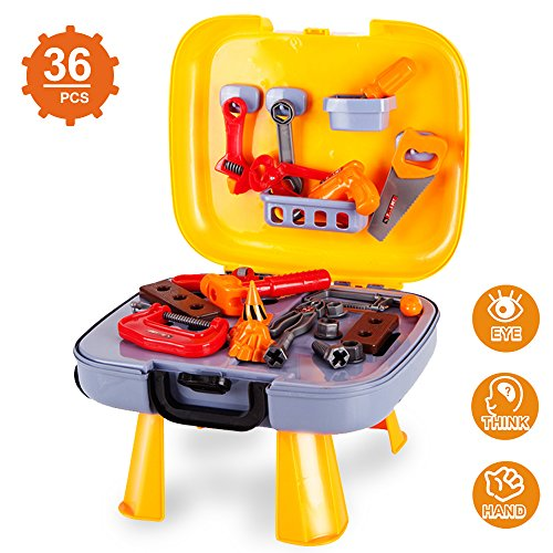 Kids Tool Set , Construction Toys for Pretend Play-36 PCS of Repair Accessories & Tool Box for Boys and Girls