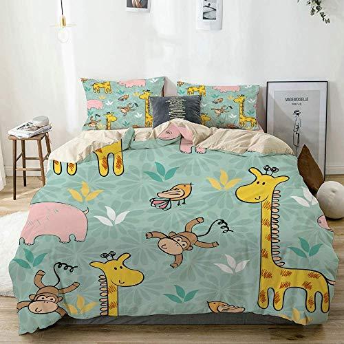 Bettbezug-Set Beige, handgezeichnetes Muster mit Giraffe und AFFE, dekoratives 3-teiliges Bettwäscheset mit 2 Kissenbezügen Pflegeleicht Antiallergisch Soft Smooth