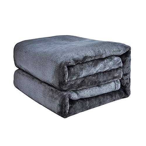 EHC Super Soft Fluffy Snugly Solid Flanell Fleeceüberwürfe für Schlafsofa-Decken, grau 200 cm x 240 cm