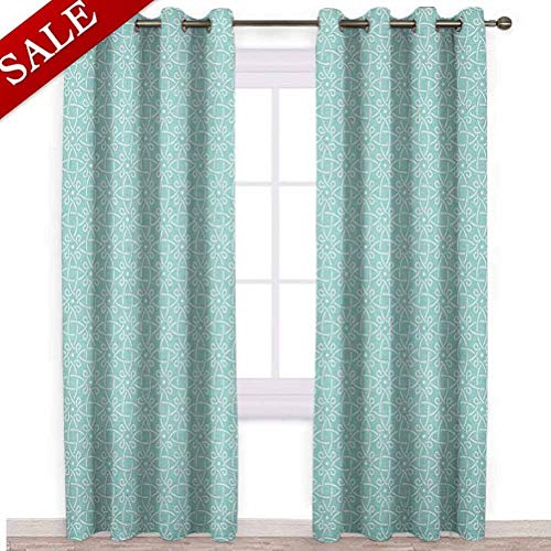 ScottDecor 48' W x 95' L Celtic Bedroom Blackout Panels Patio Sliding Door Curtain Aqua Celtic Style Twisted Crossed Repeating Circle Figures and Bent Line Webs Print Blue White