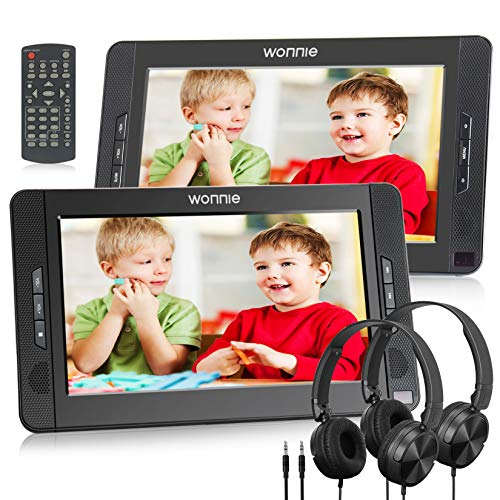 "WONNIE 10.5"" Dual Portable DVD Player for Car, Headrest Kids CD Players with Two Headphones Built-in 5 Hours Rechargeable Battery, Support USB/SD/MMC,Regions Free,AV Out & in (1 Player+1 Monitor)"