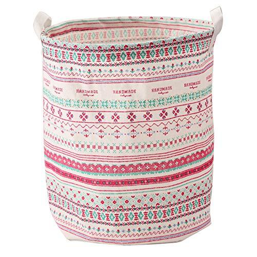 Demarkt–Cesta de Ropa Grande con Mango Resistente Redondo algodón Lino Plegable Cesta 37,5* 43cm
