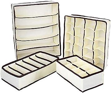 QIF Organizador de Ropa Interior,4 Cajas Plegables Organizadores de Cajones para,Almacenar Calcetines,Sujetador,Corbata Y pequeños Objetos ( Beige)