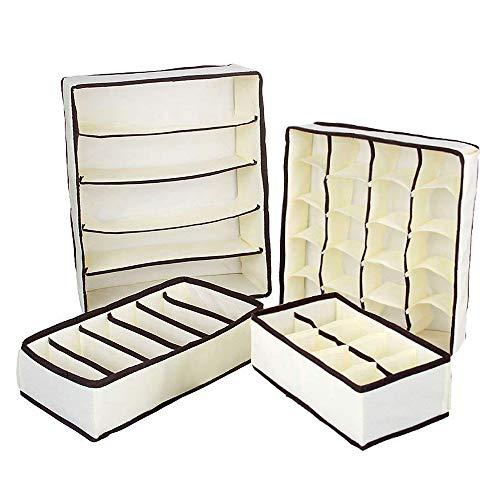 QIF Pieghevole per Cassetti, Set di 4 Armadio Divisori Pieghevole Storage Box Cassetto Organizzator Biancheria Intima, Reggiseni,Calze,Fazzoletti e Cravatte (Beige)