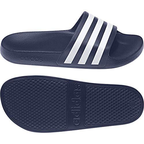 adidas Unisex Adilette Aqua Slides Sandal, Dark Blue/White/Dark Blue, 4 US Men