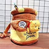 Archile Plush Backpack Stuffed Bag Toys, Winnie the Pooh Kawaii Pooh Bear Honeypot Stuffed Plush Backpack Cute Anime Pooh Plush Bucket Bag Gifts for Kids Girls (Color : Yellow) (Color : Yellow)