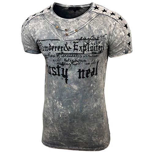 Herren Rundhals Vintage T-Shirt Kurzarm Slim Fit Design Fashion Top Print Shirt 15192, Größe:S, Farbe:Anthrazit