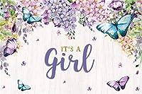 NEWそれは女の子のベビーシャワーの背景7x5ftパープルバタフライフローラルウッド写真の背景女の子のベビーシャワーの活動キッズ演技ショーパーティーテーブルの装飾写真ブースデジタル壁紙