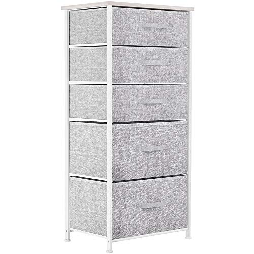 YITAHOME Chest of Drawers, Non-Woven Fabric 5-Drawer Storage Organizer Unit for Bedroom Living Room Closet, Sturdy Steel Frame, Easy Pull Fabric Bins & Wooden Top, Fabric Dresser