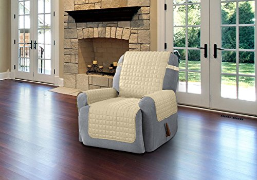 LINEN Quilted-Microfiber-Pet-Dog-Couch-Sofa-Furniture Color Beige Size Recliner