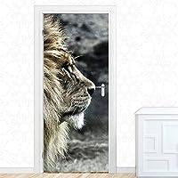 ドアステッカー ベッドルームのドアステッカーのための現代デカールPVC防水アート動物ライオンホームデコレーション3D印刷ステッカー自己粘着紙 (Sticker Size : 77x200cm)