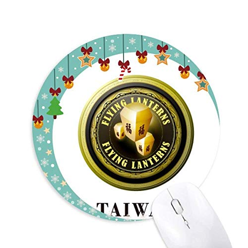 Logo Taiwan Fliegende Laternen Mouse Pad Jingling Bell Round Rubber Mat