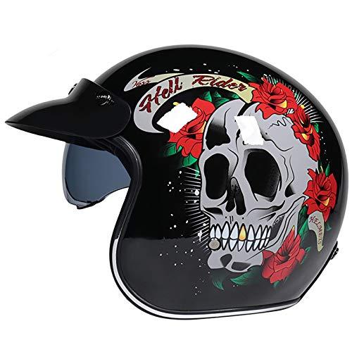 HZIH Cascos Abiertos de Moto 3/4 Half-Helmet Cascos de Motocicleta Retro Medio Casco Cruiser Chopper Scooter Piloto Jet Casco 3/4 Adulto Four Seasons Safety Collision Cap B,XL=59~60cm
